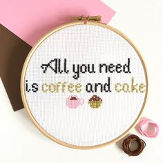 This modern and simple cross stitch kit is the perfect project to do during you coffee and cake break (we all need one!) It has a nice easy pattern to follow with so won't take too long to finish. I estimate around 3-4 cups of coffee and maybe slightly more cake. It would make a lovely gift for a new mum or that caffeine-addict friend.