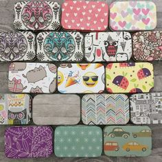 Decoupaged tins, perfect size for a pack of mini pencils, plectrums/picks, sanitary products, anything you feel like really! Only in many designs Small Hinges, Altoids Tins, Handmade Items, Handmade Gifts, Stocking Fillers, Christmas Inspiration, Gifts For Kids, Ukulele, Guitar