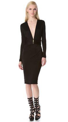 Versace Deep V Dress with Long Sleeves #MillionDollarShoppersDanielle