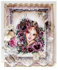 Card by LLC DT Member Alyce Keegan, using papers from Maja Design's Vintage Frost Basics Collection. Image from Aurora Wings.