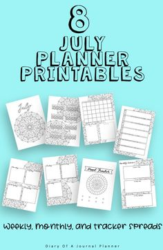 July Journal Planning Pages - Mandala Theme. Planner Sheets, Printable Planner Pages, Bullet Journal Printables, Templates Printable Free, Day Planner Organization, Perfect Planner, Mood Tracker, Life Planner, Bujo