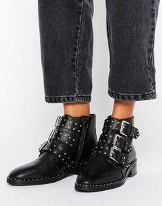ASOS – ASHER – Nietenbesetzte Ankle Boots aus Leder