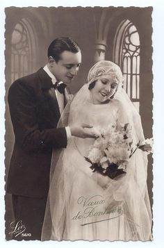 Bride and groom, c. 1920s.