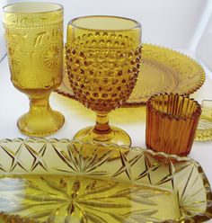 Vintage Amber Colored Glassware