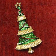 Christmas Tree Brooch Vintage Holiday Pin Goldtone Enamel | eBay