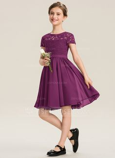 A-Line Scoop Neck Knee-Length Chiffon Lace Junior Bridesmaid Dress With Bow(s) Girls Bridesmaid Dresses, Pretty Prom Dresses, Eid Dresses, Lovely Dresses, Girls Dresses, Chiffon, Dress With Bow, Lace Dress, African Fashion Dresses