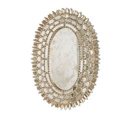 CARMELITA S - SILVER LEAF OVAL MIRROR WITH INSETS