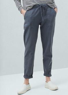 Pantalón lino bolsillos