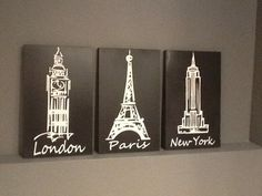 London Paris New York Black and white 3 piece by CustomSignDisigns, $45.00