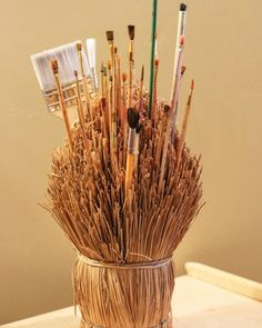 I simply love unique storage ideas! What a fabulous thrift store find and way to store paint brushes! How do you store your art materials? I'd love to hear about it. #Reggio #storageideas #fairydustteaching