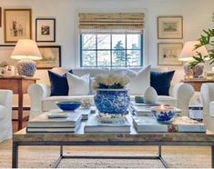 Home Interior 2019 This room is comfortable but still a little formal. Like the touches of navy.Home Interior 2019 This room is comfortable but still a little formal. Like the touches of navy. Navy Home Decor, White Decor, Home Living Room, Living Room Decor, Living Spaces, Blue And White Living Room, Living Room Inspiration, Traditional House, Great Rooms