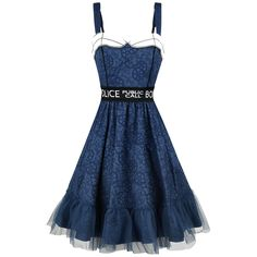 - All-over Tardis pattern - Collar and cuffs in contrasting colours - Adjustable straps - Embroidered decorative waistband - Zip at back - Tulle frill at the skirt hem - Petticoat with tulle trim  The time machine and spacecraft Tardis is an integral part of