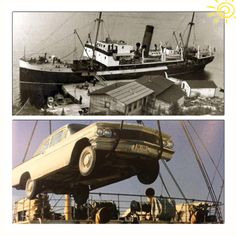FLASHBACK FRIDAY: Car being hoisted onto the Northern Ranger. Since the road extended no farther than Point Riche, the coastal boat was the only way to transport cars up and down the Northern Peninsula!