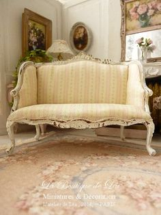 Shabby French sofa, early 18 th century, Louis XV, Delicate pink stripes, French dollhouse furniture, 1:12 th scale    Sofa Louis XV style, in wood.