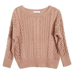 Ryan Roche Rose Fisherman Crop Sweater ($950) ❤ liked on Polyvore featuring tops, sweaters, blusas, clothing - ls tops, long-sleeve crop tops, cable knit sweater, sleeve shirt, beige cable knit sweater and cropped shirts