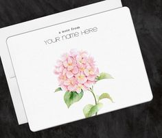 Personalized Stationery Hydrangea Pink Flower, Greeting Note Cards - Set of 10 by OlivineStationery on Etsy