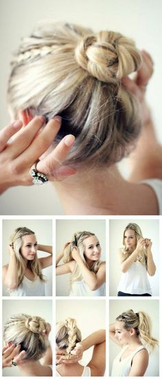 tuto coiffure cheveux courts blonds