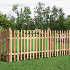 42 in. x 8 ft. Cedar 2-Rail French Gothic Spaced Picket Fence Panel-63665 at The Home Depot