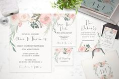 This listing is for a hand painted floral printable wedding invitation suite in high resolution graphic files for your DIY print at home or print through a professional printing shop.  This Listing has Six different Options available, letting you customize your suite. Each listing includes the monogram design & main wedding invitation and you can choose from an extra 5 other items to include....   ♥ WHAT IS AVAILABLE IN THIS SET ♥   * 5x7 single-sided wedding invitation, * 5x3.5…