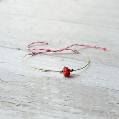 Tiny little red coral bracelet brass adjustable by AMEjewels