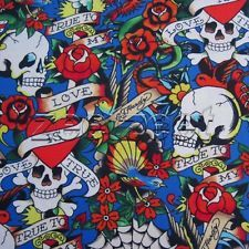 ed hardy fabric in Fabric Crafts Ed Hardy Tattoos, Tigers, Fabric Crafts, Skulls, Cotton Fabric, Hearts, Yard, Blue, Camouflage