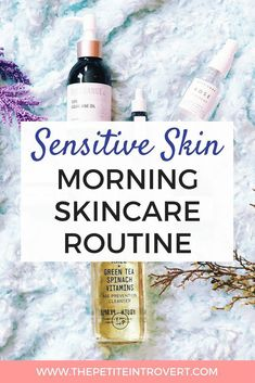 Do you have acne or sensitive skin? Check out this morning sensitive skin care routine that balances oil production and calms skin. It includes a non-drying cleanser, clarifying face mask, hydrating face mist, dark spot corrector, hydrating oil, and acne treatment. #acne #oilyskin #combinationskin #dryskin #ClayFaceMask