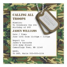 Camouflage / Camo Birthday Party with Dog Tags Personalized Invitations