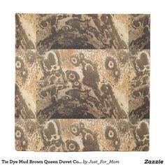 Tie Dye Mud Brown Queen Duvet Cover by Janz