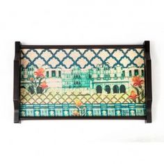 Neo Nawab Riverside Miniature Tray : This Neo Nawab Dining Tray brings alive the regal charm and colours of the Mughal palace. The rectangular tray is available in 3 sizes. It is made of wood and has an elegant, royal shape handle.