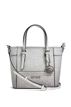 For the Beauty: Delaney Glitter MiniTote | GUESS.com #GUESSHoliday
