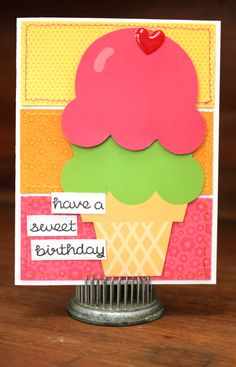 Sweet Birthday - Scrapbook.com - Love the color blocking and stitching on this card!
