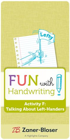 Encourage students to think about their daily routines from a different perspective (left-handed vs. right) and provide opportunities to practice research and communication skills with this informative in-class activity. Handwriting Activities, Class Activities, Zaner Bloser Handwriting, Daily Routines, Communication Skills, Cursive, Left Handed, Perspective, Encouragement