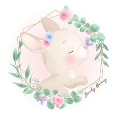 Lindo conejito doodle con ilustración fl...   Premium Vector #Freepik #vector #flor #acuarela #cumpleanos #floral Easter Drawings, Baby Animal Drawings, Cute Drawings, Watercolor Flower Background, Watercolor Rose, Watercolor Illustration, Doodles Bonitos, Pink Flower Bouquet, Hand Drawn Flowers
