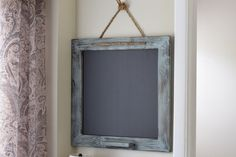 Square Distressed Wood Frame Blue Gray Chalk Marker by ALatteDecor