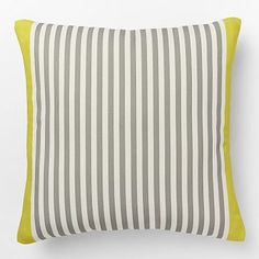 Outdoor Pencil Stripe Pillow #westelm I think outdoor pillows might be a good idea for our living room!