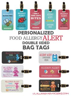 Large Personalized food allergy  alert tags.You may also add information about specific allergens, carrying epinephrine or other medical information. Bold, bright and large for caregivers to see when attached to your child's book bag, medicine kit, or lunch box.
