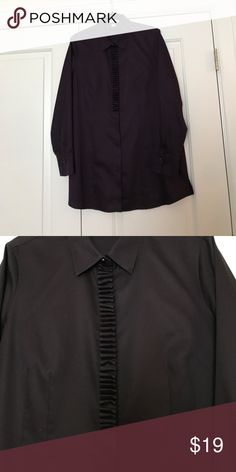 Blouse Eggplant color long sleeve blouse with ruffle detail in front Coldwater Creek Tops Blouses