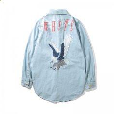 OFF WHITE Embroidered blue denim Shirt