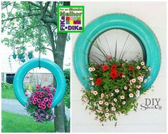 Out door tire plant hangers Container Gardening, Diy, Gardens, Plant Hangers, Patio, Landscape, Outdoor Ideas, Projects, Plants