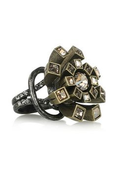 Lanvin Swarovski crystal flower ring, $470, available at Net-A-Porter.
