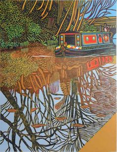 "Original ""Canal Linocuts"", colour and b&w from around the UK. Hand-cut…"