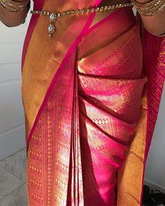 Beauty by Anuja - Draped this gorgeous saree on my bride Sanjika wearing and Wedding Saree Blouse Designs, Silk Saree Blouse Designs, Fancy Blouse Designs, Designer Sarees Wedding, Saree Wearing Styles, Saree Styles, Silk Saree Kanchipuram, Banarsi Saree, Kanjivaram Sarees