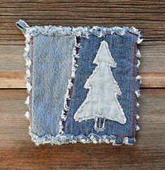 Denim Potholders Applique Pine Blue Jean Pot by DeMasterDesigns