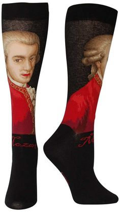 Wolfgang Amadeus Mozart intricately sewn into a trouser length sock.  Fit: these socks are longer than a crew sock, and yet not quite to the knee - socks this length are most commonly called Trouser Socks.  Size: One size fits most (Women's shoe size 6-9 & Men's shoe size 7-10).