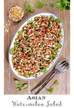 40 minutes · Vegetarian Gluten free · Serves 6 · This Watermelon Salad is the essence of summer on a platter! It's super fresh, sweet, salty, tangy and crunchy, all at the same time. The fresh herbs and Asian-inspired dressing create a delicious… Watermelon Mint Lemonade, Watermelon Pickles, Watermelon Salad, Lunch Recipes, Easy Dinner Recipes, Beef Recipes, Chicken Recipes, Healthy Recipes, Vegetarian Recipes