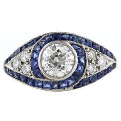 1.01 Carat Diamond and Sapphire Art Deco Ring