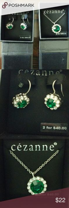 Nwt earrings and necklace Nwt emerald Stone with diamonds around it. Matching earrings and necklace. Cezanne Jewelry