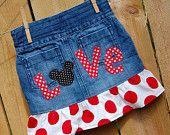 Minnie Mouse Jean Skirt size 4, 4T  refab / upcycle Disney Vacation - Ready to Ship. $11.99, via Etsy.