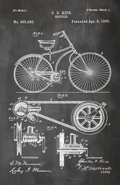 This beautiful print artwork is of a Patent 425390 Bicycle Apr 8 1890. Item #00025  ▦ Orientation of print as shown in photos above  ▦ I have