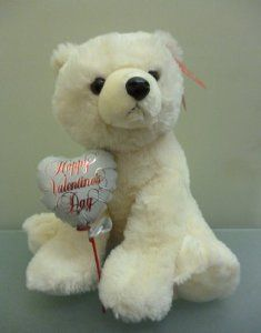 Cute and Funny Valentines Day Gift Ideas for Her. Polar Bear Plush With Valentine Balloon.